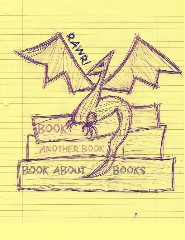 a terrifying bookdragon atop its hoard